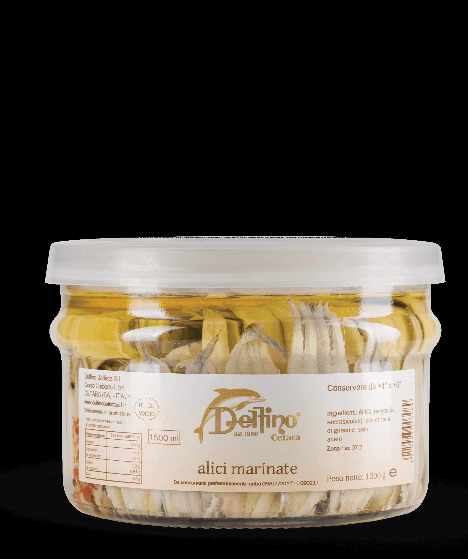 Alici marinate di Cetara nel vaso da 1500 ml - Linea Mare Delfino Battista