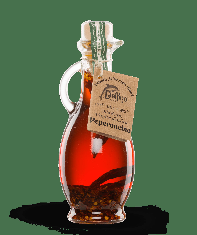 Olio extravergine di oliva aromatizzato al peperoncino piccante - Linea Terra - Delfino Battista